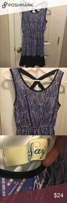 Blue dress 65% silk, 35% polyester; lining: 100% polyester. Blue dress that's crossed in the back jay Dresses Midi