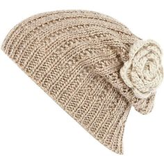 cream flower knitted beanie hat - hats - accessories - women - River Island