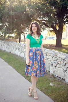 Bright top, printed skirt, dainty wedges.