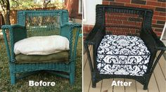 42 Ideas Wicker Patio Furniture Redo Love For 2019 Patio Furniture Redo, Outdoor Wicker Furniture, Refurbished Furniture, Repurposed Furniture, Furniture Makeover, Painted Furniture, Vintage Furniture, Chair Makeover, Furniture Covers