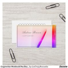 Shop Copywriter Notebook Pen Business Card created by LosCrazyAvocados. Consultant Business, Copywriter, Professional Business Cards, Positive Vibes, Notebook, Paper, The Notebook, Exercise Book, Notebooks