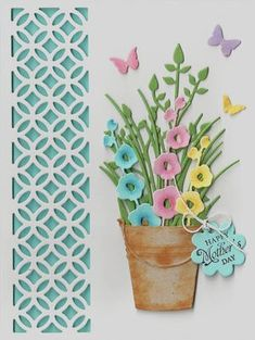 Hollyhocks with pail; nice cheery card for any type of occasion.  Love it!