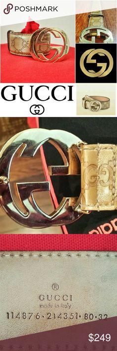 GUCCI Belt interlocking GG W/case Pre-owned Authentic GUCCISSIMA Belt_ Gold interlocking GG_Champagne-Gold Genuine leather w/GG monogram. MI 2011. Purchased on www.Gucci.com 11/25/16 R?nni Fauci case included* Gucci Accessories Belts