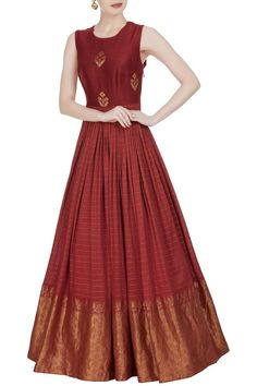 Buy Long anarkali style printed gown by Label : Anushree at Aza Fashions