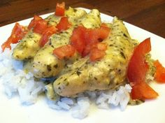 Creamy Lemon Pesto Chicken made in the Pampered Chef Deep Covered Baker. www.pamperedchef.biz/jenniferbabcock