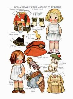 DIGITAL IMAGE- 1917 Dolly Dingle Takes Trip Paper Doll Sheet - Grace Drayton -Printable File- Use in Creative Projects - Immediate Download!