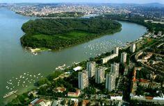 Belgrade, Serbia pogled sa gardoša,iz zemuna na veliko ratno ostrvo,savu i dunav,ušće