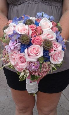 www.flowerhillflowers.com #fhflowers  #vintagebridalbqt #theknottybridepr #pinkblueandgirly
