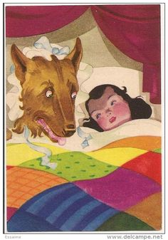 """In Charles' story, he explains that the wolf was an evil man trying to seduce Red. She takes off her clothes and slip into her grandmother's bed with the wolf. Charles wants to warn girls that some men are """"wolves"""" looking for his next prey. Illustrations, Illustration Art, Charles Perrault, Big Bad Wolf, Red Riding Hood, Big Eyes, Little Red, Nursery Rhymes, Animal Pictures"""
