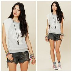 """Free People Gray Studded Denim Cutoff Shorts Preloved shorts, in excellent condition. Studded denim 5-pocket cutoff shorts. Frayed bottom hems. Zipper and button fly closure. 100% Cotton. Machine Wash Cold. Waist (all around): 29"""" Length: 10 1/2"""" Inseam (including fringe): 3"""" ❌NO TRADES OR PAYPAL❌ Free People Jeans"""