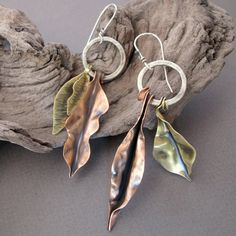 Handmade Autumn Leaves Earrings  Fold Formed by Jewellietta