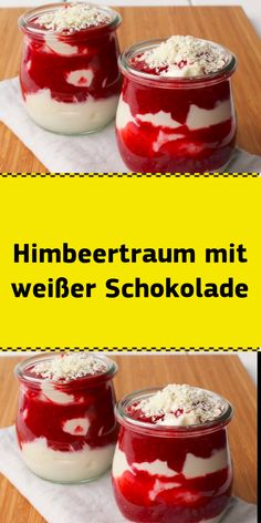 Himbeertraum mit weißer Schokolade Before the berry season comes to an end, I'll quickly show you my favorite dessert this summer. Quick Dessert Recipes, Easy Cookie Recipes, Cake Recipes, Mini Desserts, Easy Desserts, Dessert Drinks, Food Cakes, Chocolate Recipes, Cheesecake