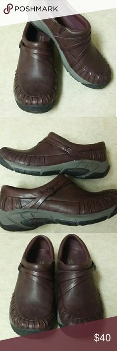 Merrell Mocs New without box. Cordovan Merrell mocs. Leather upper, removable insole, rubber sole, and Merrell's signature air cushion heel. If you like Merrells, you will love these comfy shoes! Merrell Shoes