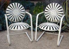 Pair of 1940's Carre sunburst chairs —
