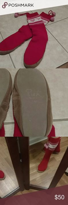 Victoria secret muk luks?????? Super cute slippers that the bottoms are leather. I bought these from another posher but these run big. They are a medium and say 7to8 but I would say large. Fantastic condition and just adorable. These won't last long. PINK Victoria's Secret Shoes Slippers