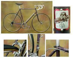 1955 Automoto Champion De Monde      AutoMoto has a long, storied racing heritage. Their bicycles were ridden to victory in the Tour De France three consecutive years from 1923-1925. Henri Pelisser in '23 and Ottavia Bottecchia in '24-'25. This particular bike is the top, pro issue model of its day. It was built in France out of Vitus tubing and includes Simplex derailleurs, Mavic rims, Stronglight cranks and an Ideale saddle.