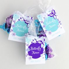 """""""Butterfly Kisses"""" baby shower favor. These printable favor tags are personalized for your event!"""