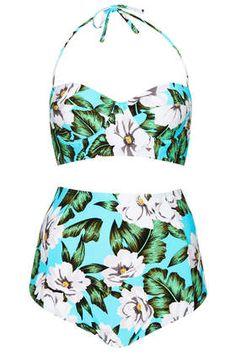 Blue Floral Longline Bikini #topshop