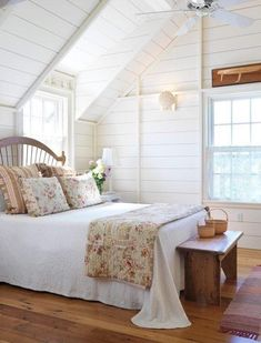Farmhouse bedroom that& rich in texture with ship lap walls Farmhouse Touches: Photo Source by thefreckledhome The post Farmhouse Touches: Photo appeared first on Rees Home Decor. Attic Bedroom Designs, Attic Bedrooms, Design Bedroom, Master Bedrooms, Bedroom Styles, Dream Bedroom, Home Bedroom, Bedroom Decor, Bedroom Girls