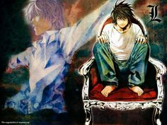 """Light Yagami and L from """"Death Note"""" by Takeshi Obata"""