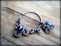 Copper Shawl Pin- Wire Wrapped Copper Sapphire Blue Brooch Scarf Pin Fall Fashion