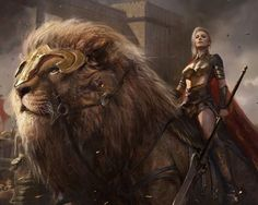 female warrior rides a great lion fantasy art Fantasy Warrior, Fantasy Women, Fantasy Girl, Fantasy Inspiration, Character Design Inspiration, Fantasy Artwork, Character Portraits, Character Art, Rock Kunst