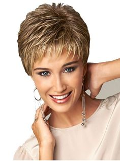 Jessica Fletcher - RainbowWigs Western Women Golden with Brown Short Straight Hair Wig ST28