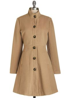 Playwrite on Time Coat. The final rehearsal for your debut drama begins shortly, and you arrive on cue in this camel-colored coat from Tulle Clothing, available in October. #gold #prom #modcloth