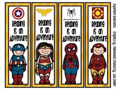Need more female ones! Superhero Themed Bookmarks - 8 Designs