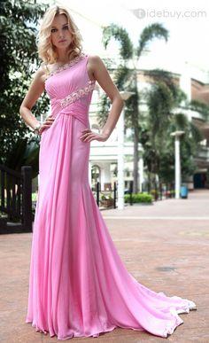 Elegant Trumpet One-Shoulder Court Train Beading Floor-Length Evening Dress
