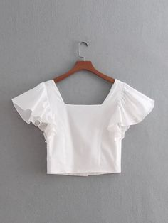 Butterfly Sleeve Button Through Crop Blouse Teen Fashion Outfits, Casual Outfits, Cute Outfits, Crochet Bandeau Tops, Sleeves Designs For Dresses, Fancy Tops, Aesthetic Clothes, Blouse Designs, Beautiful Outfits