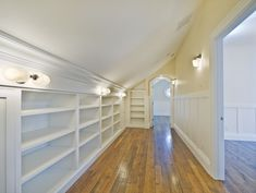 Attic closet - make use of walls under slanted ceilings