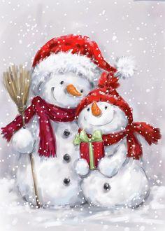 Christmas Canvas, Christmas Snowman, Winter Christmas, Vintage Christmas, Christmas Time, Christmas Ornaments, Christmas Drawing, Christmas Paintings, Snowmen Paintings