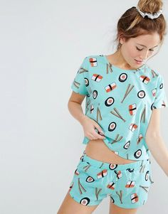 Blue short sleeve jersey top and stretch waist pajama shorts with sushi rolls and chopsticks pattern! Cute Pajama Sets, Cute Pjs, Cute Pajamas, Pajamas Women, Cute Sleepwear, Sleepwear & Loungewear, Lingerie Sleepwear, Cute Lazy Outfits, Cool Outfits
