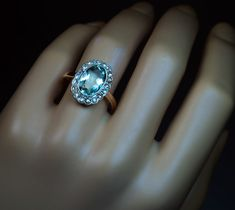 Aquamarine Rose Cut Diamond Vintage Engagement Ring - Antique Jewelry | Vintage Rings | Faberge Eggs