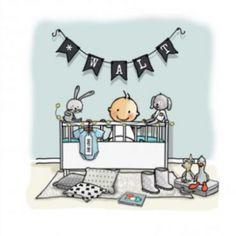 Geboortekaartje jongen in ledikant