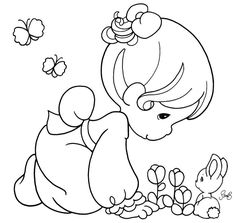 Precious Moments Angels Coloring Pages | Momentos Preciosos ou Precious Moments - riscos