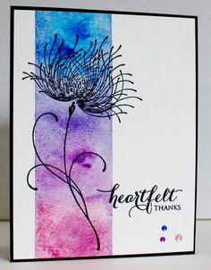 "blindstamper at splitcoaststampers. Mask to expose vertical strip. Sponge or spray with Distress inks. Stamp ""Dreamy"" (Penny Black) and sentiment in black VersaFine ink. Penny Black Cards, Penny Black Stamps, Watercolor Birthday Cards, Watercolor And Ink, Art Carte, Paint Cards, Sympathy Cards, Flower Cards, Greeting Cards Handmade"