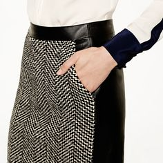 Collection leather and tweed pencil skirt - pencil - Women's skirts - J.Crew