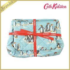Cath Kidston キャスキッドソン ポーチ Penguins Quilted Washbag Gift Set ペンギン柄 コスメポーチ 2個セット ブルー 404617 BLU