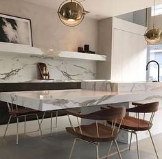58 most beautiful modern marble kitchen - Marble Kitchen Design Open, Best Kitchen Designs, Modern Interior Design, Interior Design Kitchen, Coastal Interior, Luxury Interior, Interior Ideas, Beautiful Kitchens, Cool Kitchens