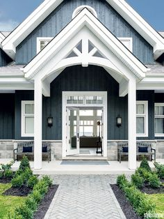 Farmhouse Exterior Design Ideas - The farmhouse exterior design entirely shows the entire design of the house and the household custom as well. The modern farmhouse style is not only for. House Paint Exterior, Exterior House Colors, Exterior Design, Brick Design, Craftsman Exterior Colors, Blue House Exteriors, Home Exteriors, Stucco And Stone Exterior, Exterior Shutters
