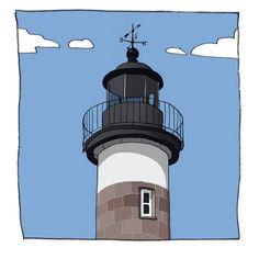 Phare de l'île Tristan de Douarnenez  Illustrateur Christophe Rouillat de Quimper  Finistère Bretagne