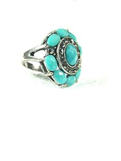Fashion Ring Turquoise Gemstones & Black Crystals Cocktail Womens Ring Jewelry Mogul Interior http://www.amazon.com/dp/B00Q9V1CPQ/ref=cm_sw_r_pi_dp_p0fEub0C8ACKR