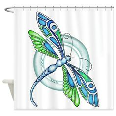 Decorative Dragonfly Shower Curtain by EverIris - CafePress Dragonfly Drawing, Dragonfly Painting, Dragonfly Wall Art, Dragonfly Tattoo Design, Dot Painting, Watercolor Dragonfly Tattoo, Dragon Fly Craft, Stone Art, Animal Paintings