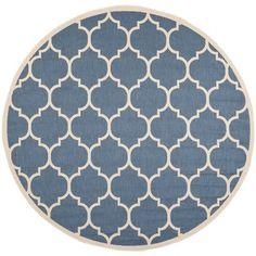 Safavieh Indoor/ Outdoor Courtyard Blue/ Beige Rug (5'3 Round)