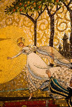 Mosaic, Night, Cinderella Castle, Magic Kingdom, Walt Disney World, Orlando, Florida