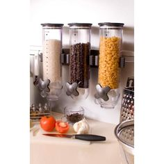 Utilize wall space instead of counter space in the kitchen. Install these triple dispensers for commonly used foods. Just pop in and out for refills. Zevro Indispensable Dispenser Smart Space Edition