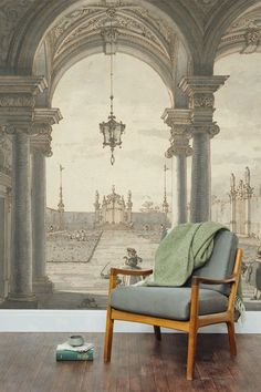 Canaletto is famous for his paintings and drawings of Venice. This striking art wallpaper mural depicts a scene through a Baroque colonnade. Bedroom Murals, Wall Murals, Bedroom Decor, Ceiling Murals, Chinoiserie Wallpaper, Wallpaper Murals, Interior And Exterior, Interior Design, Grisaille