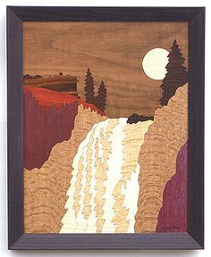 Marquetry Drawing - Snoqualmie Falls #16505 by Lynne Buss